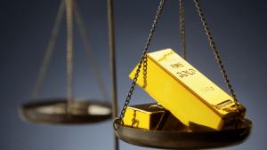Gold Bullion Bars on Scale